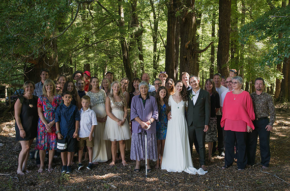 Martini and Elza surrounded by whānau and friends.