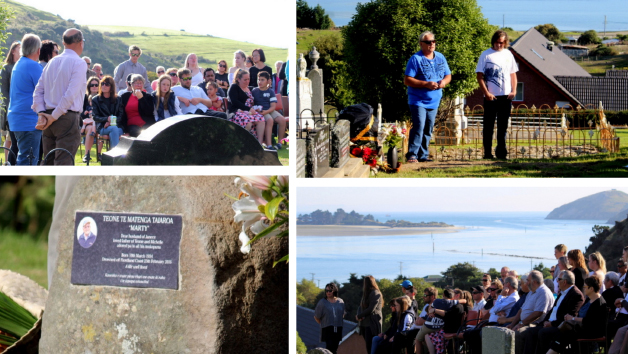 Top left: Edward, Teone Michelle and Janece and her whānau listen as Tia Taiaroa leads out with full support from Les and Erena performing the Tahu Pōtiki haka. Top right: Teone acknowledges Spud Robson, fisherman from Jacksons Bay who found Marty. Bottom left: Unveiled, the headstone of Teone Te Matenga Taiaroa. Bottom right: Whānau and friends at the unveiling.