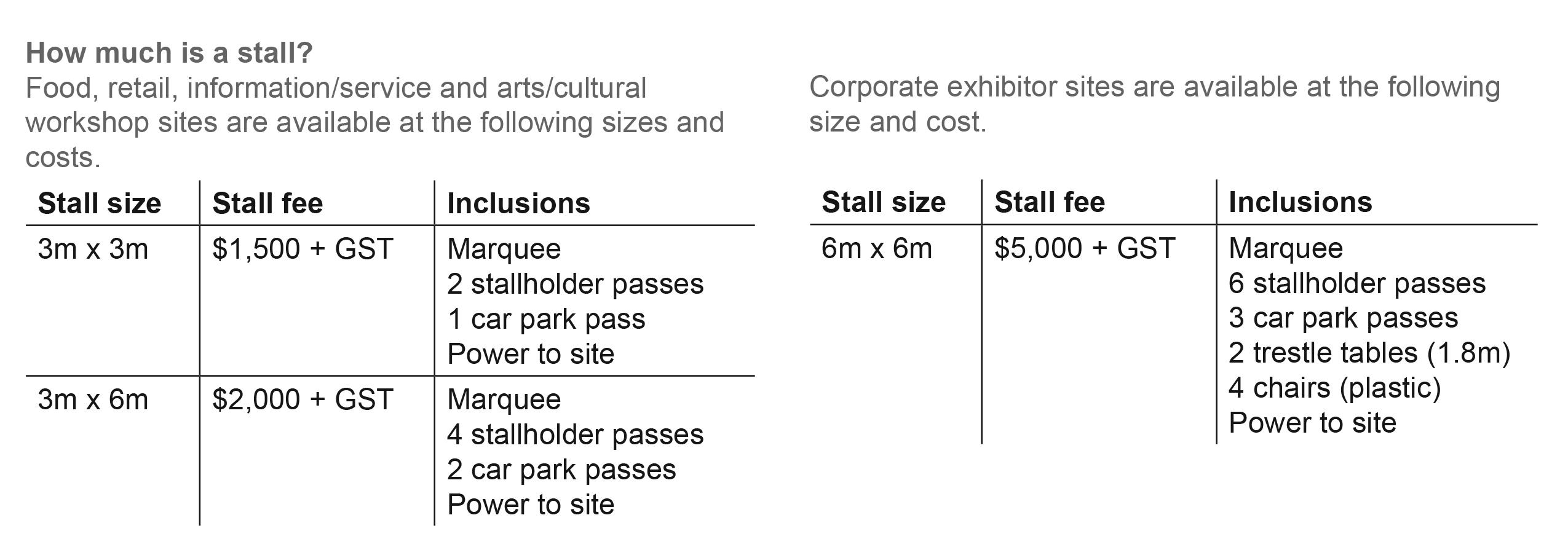 Matatini Stall info