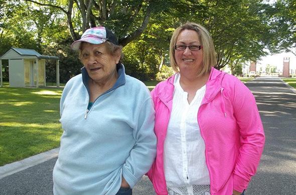 Mateka Pirini and Ora Barron going for a walk in Queens Park.
