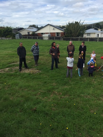 Members of Hokonui Rūnanga and the community at the blessing of the future building site.