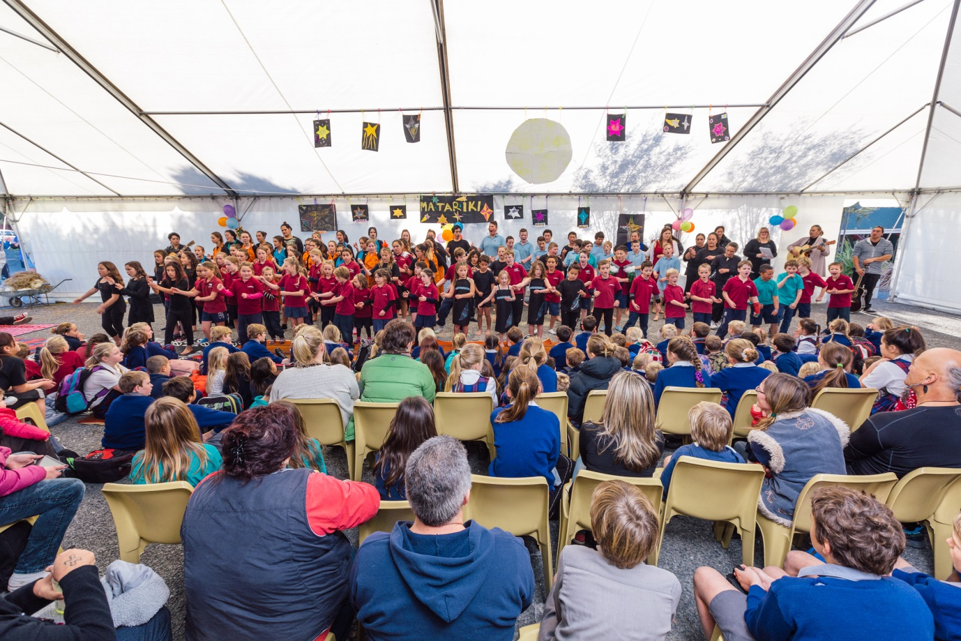 Members of the audience enjoying one of the kapa haka performances. Photo by Andrew Spencer.