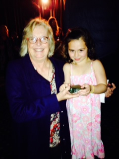 Miriam Robinson, 6, with writer, producer, director, Gaylene Preston. They hold the pounamu gifted to the show by Ngāi Tahu.