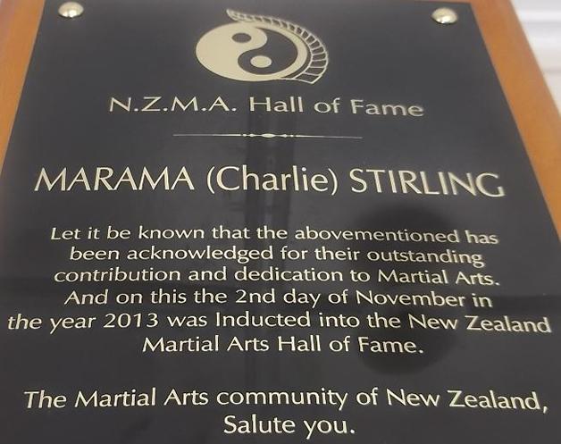 NZMA Hall of Fame award plaque.