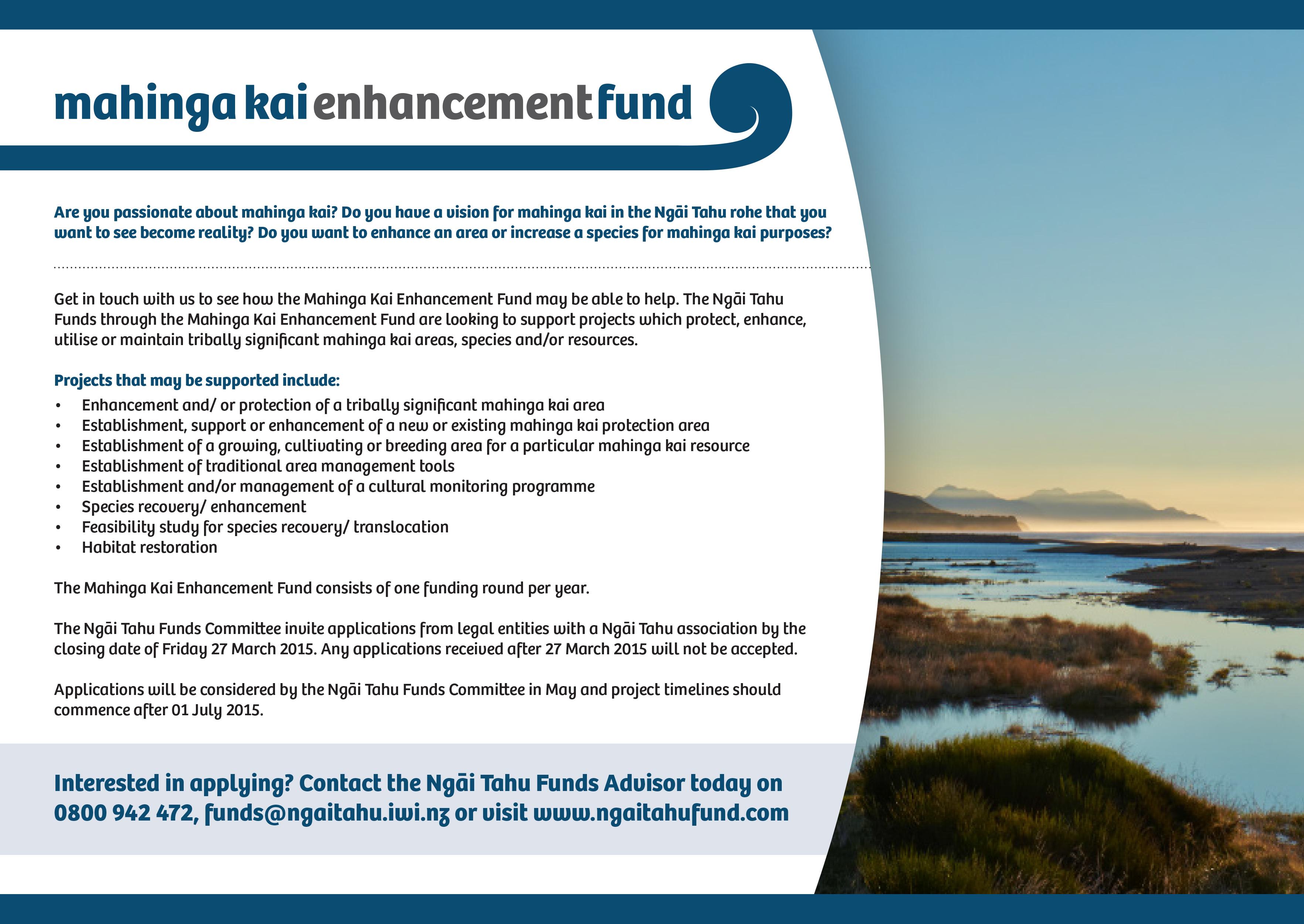 Ngāi Tahu Fund mahinga kai advertisement