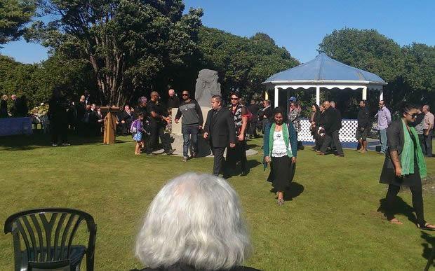 Ngāti Waewae and Ngāruahine whānau gather at the memorial site at Seaview, Hokitika.