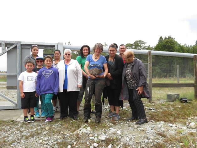 Ngāti Waewae whānau help with another kiwi release.