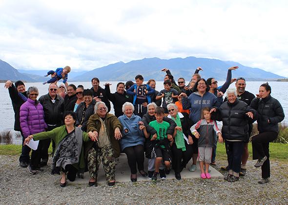 Ngāti Waewae whānau together.