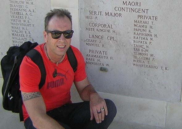 Nick beside the NZ monument at Chunuk Bair.