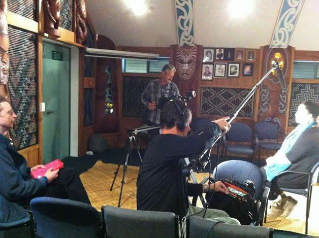 Our Tumuaki, Susan Wallace inside Kaipō being interviewed for the documentary.
