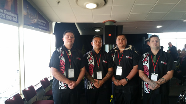 Our kaihaka group for Prince Harry's welcome, from left, Jessie, Joe, Chris, and Tipene  Clarke.