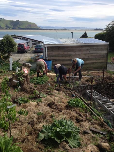 """ur keen volunteer gardeners from left,  """"Mac"""" MacDonald, Nic Hedley, Chris Fenwick."""