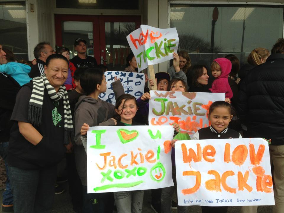 Our tamariki show their support for Jackie Thomas.