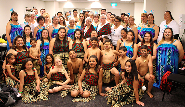 Our wonderful combined group who took to the stage for Te Atakura.