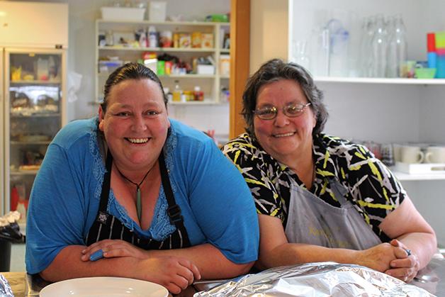 Our wonderful cooks Aroha Ellison and Myra Tipa, creating a feast for Tā Mark's farewell.