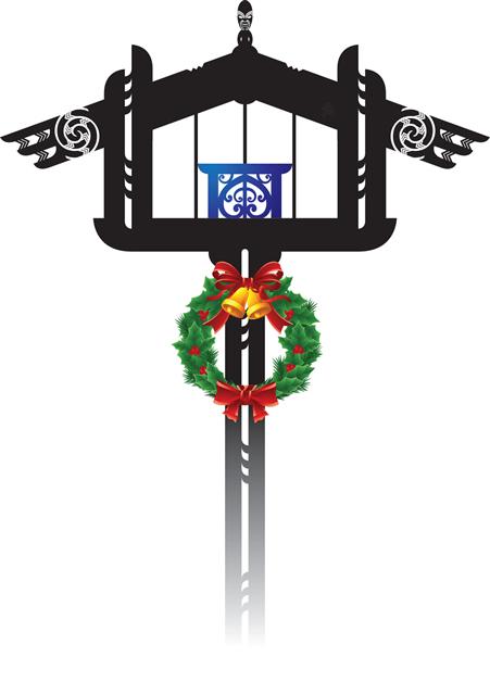Pātaka with Christmas wreath.