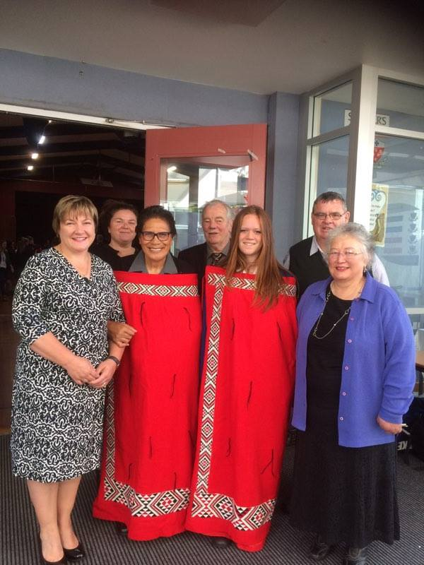 Pōwhiri at St Peters College Gore. From left: Kate Nicholson, Vanessa Edwards, Leora Edwards, John Rogerson, Tailah Robinson, Terry Stott and Grace Rogerson.