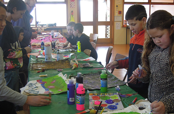 Painting activities for the younger tamariki.