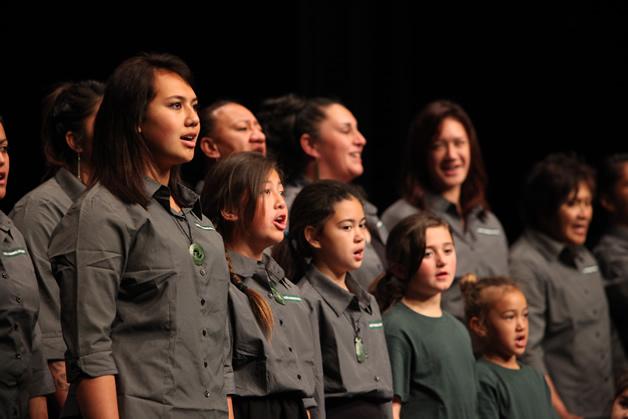 Performing a waiata at Te Atakura.
