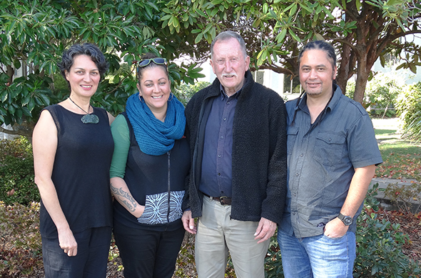 Photo from the Whai Rawa roadshow hui in Nelson, (L-R) Ariana Tikao, Holly-Weir-Tikao, Uncle Terry and Solomon Rahui.