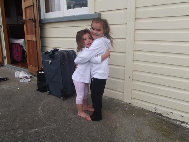 Pohio cousins Daniella and Katajlia Akuhata-Brown meeting for the first time.