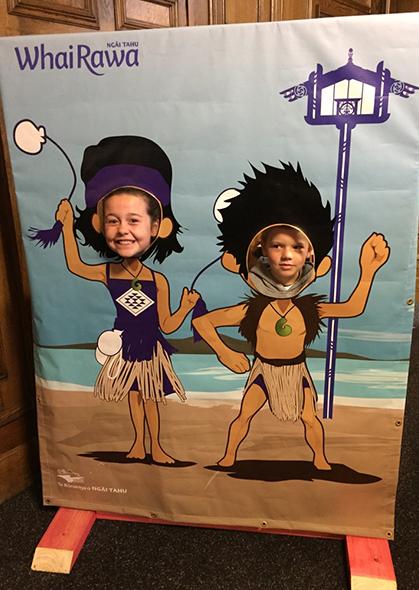 Poppy and Corban having fun at the Hui-ā-Iwi Whai Rawa stand.