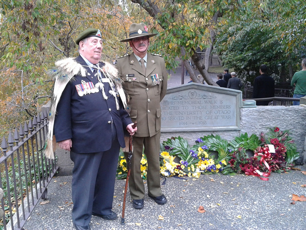 Upoko David Ellison and Professor John Broughton at the University of Otago Students Association Anzac commemoration.