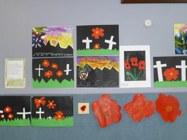 Pupils exhibit their artworks for Anzac Day.