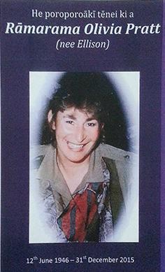 Rāmarama Olivia Pratt (née Ellison), 12 June 1946 – 31 December 2015.