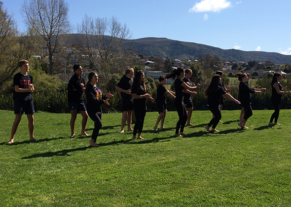Rangatahi during a kapa haka performance.