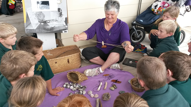 Rangimaria Suddaby during a lesson with the tamariki.