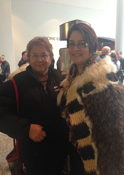 Ranui Ngarimu and Lisa Tumahai at the exhibition opening.