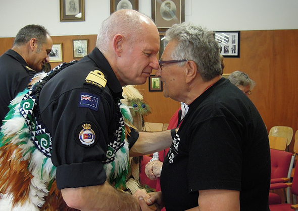 Rear Admiral Jack Steer and Hinerangi Ferrall-Heath hongi at Puketeraki Marae.