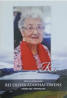 Rei Olivia Atawhai Owens (née Taiaroa), 1 October 1932 – 1 February 2016.