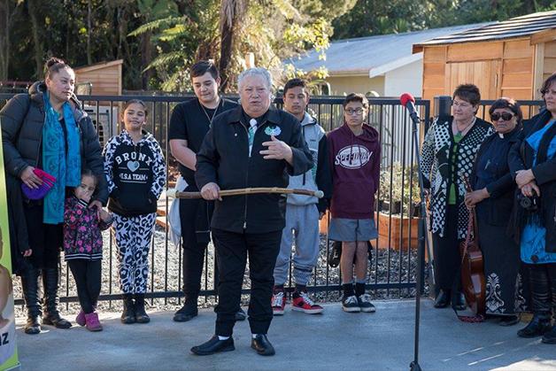 Rev Richard Wallace welcoming everyone at the mihi whakatau.