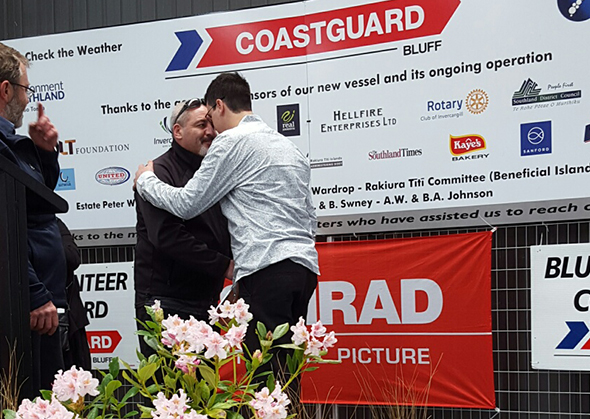 Rhys Ferguson receiving a hongi from Dallas Reedy after being presented with his skipper's ticket.