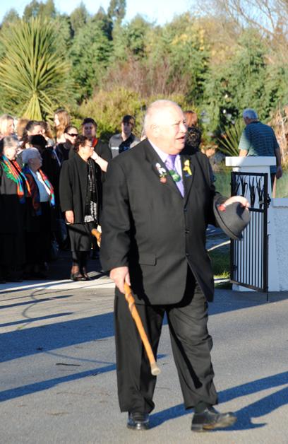 Richard Wallace, Upoko Te Rūnanga o Makaawhio arrives at Tuahiwi Marae for the launch.