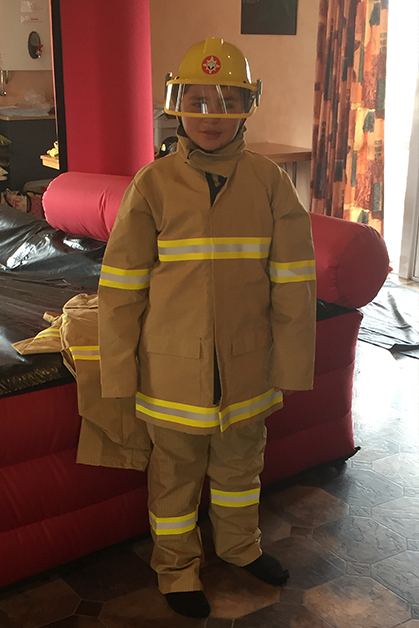Riki Bull of Colac Bay wearing the Firefighter uniform.