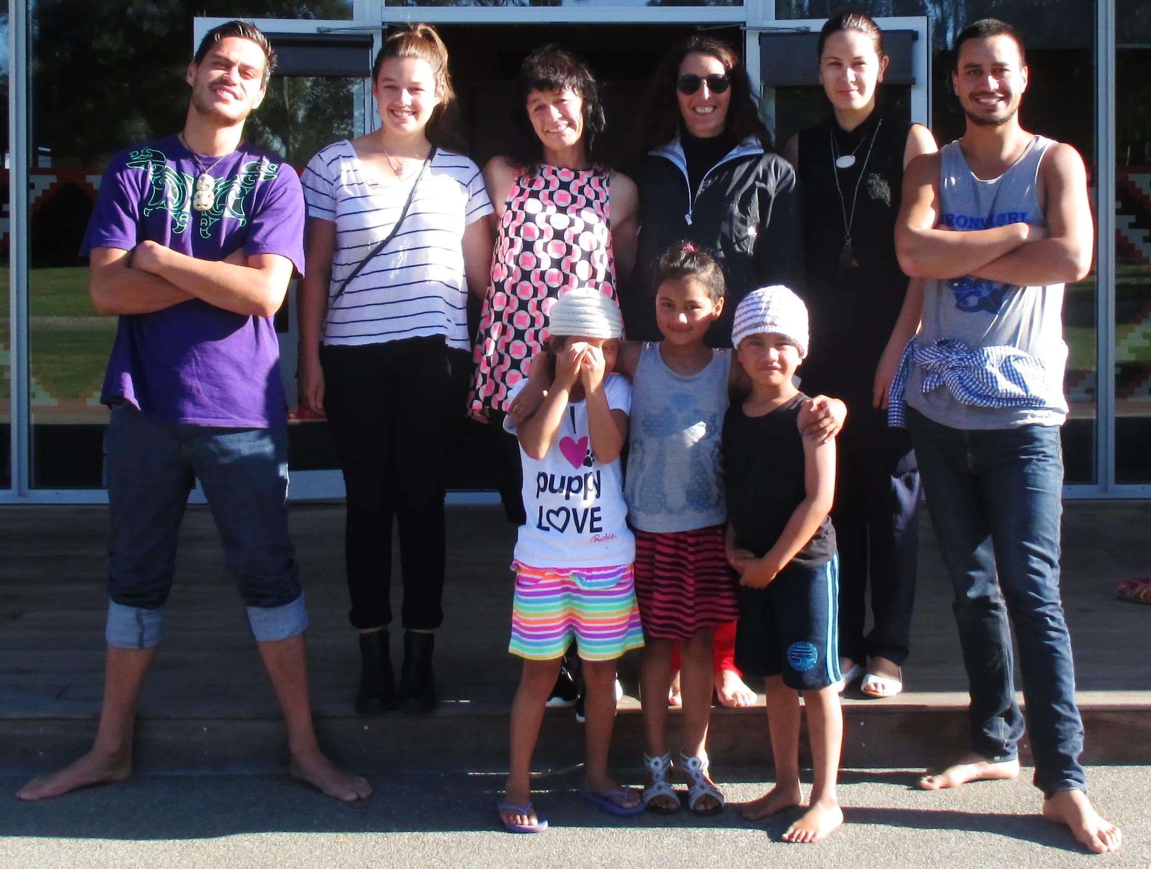 Rongomai Parata-Taiapa, Georgia-Rae Flack, Suzi Flack, Lisa Te Raki, Sam Jackson, Waiariki Parata-Taiapa and Tuahiwi tamariki.
