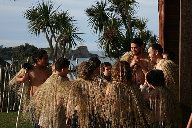 Rongomaitawhiti Parata-Taiapa and Piripi Matthews talking to the young warriors.