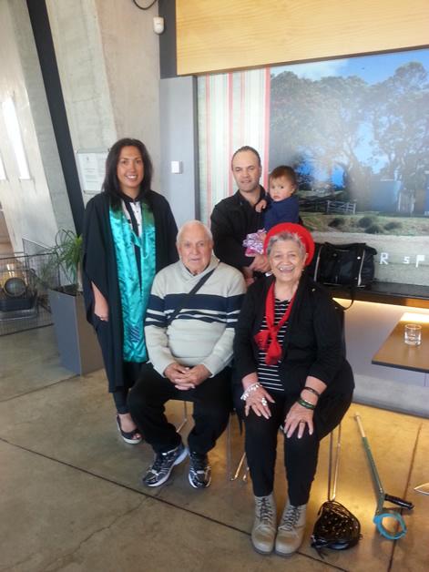 Sarah-Jane Paki with proud parents, Judy and Joseph (Darkie) Tipa, husband David and youngest daughter Te Ārani.