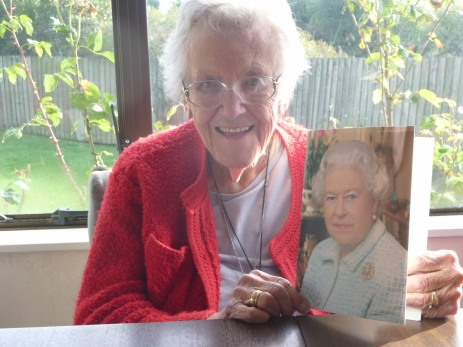 Sheila Jardine celebrating her 100th birthday.