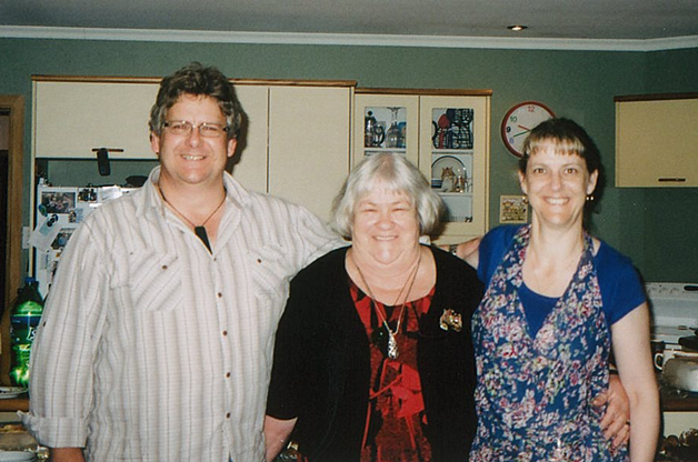 Shona Fordyce at her 70th birthday with her son Gregory and daughter Carolyn.