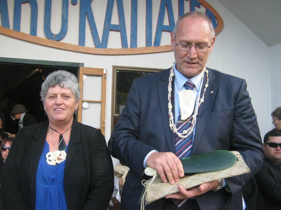 Tā Mark and Lady Marie Solomon at Takahanga Marae.