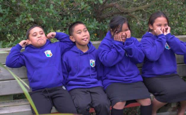 Some of the Ngā Ruahine tamariki who travelled to Te Waipounamu.