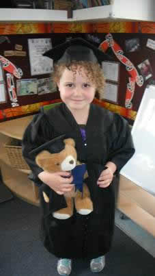 Sonnie with her special graduation bear.