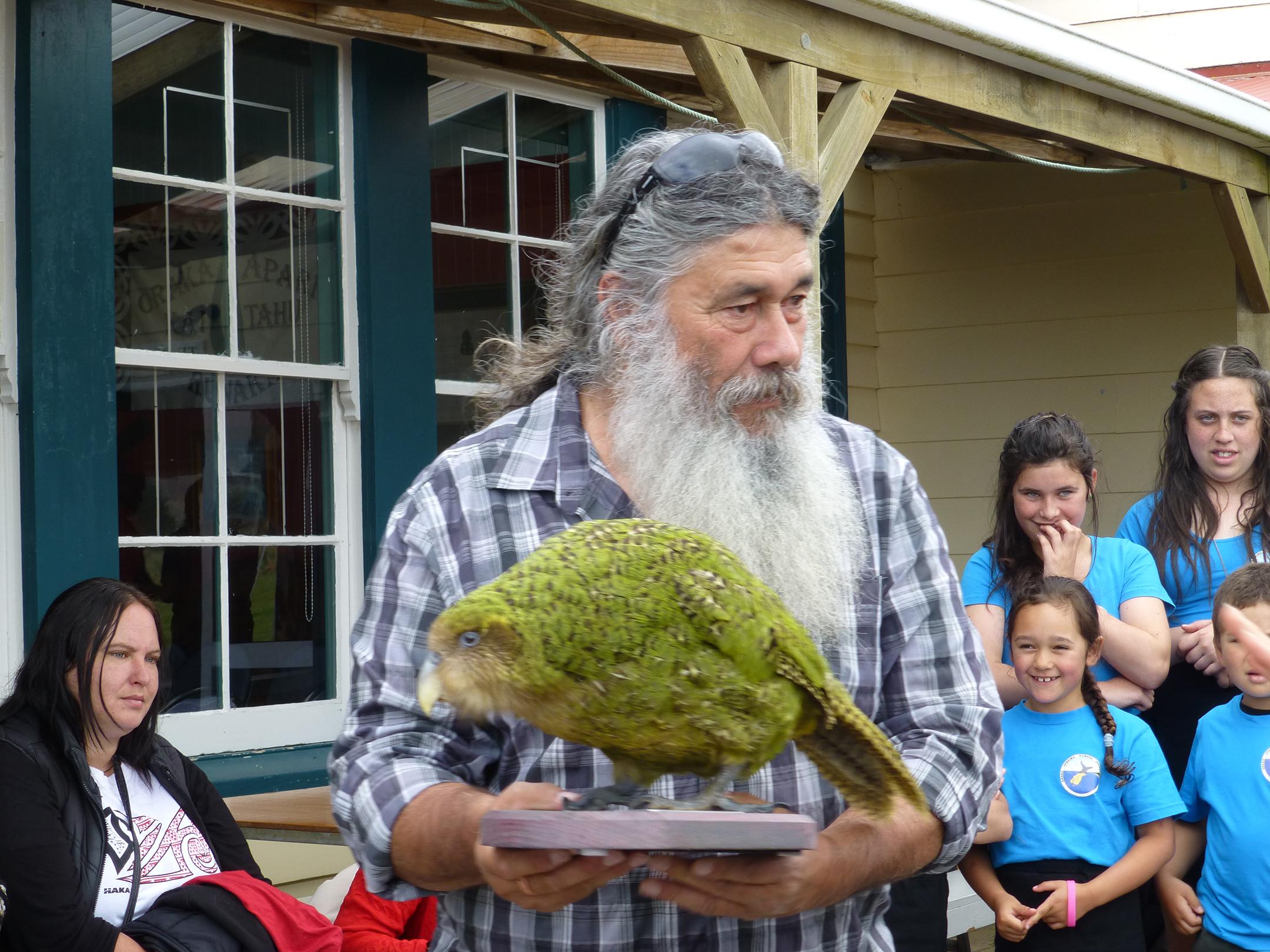 Stewart Bull, chairman of Ōraka-Aparima Rūnaka, posing with a kākāpō presented to the Rūnaka by the Department of Conservation.