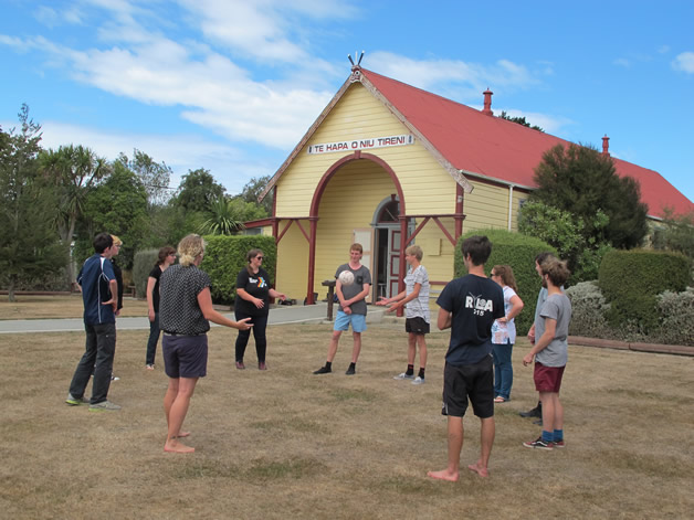 Students from a number of secondary schools around South Canterbury get to know each other through an energiser game at the marae.