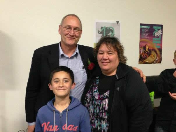 Tā Mark Solomon with Gaylene Hamiona and Tūrāhui Payne