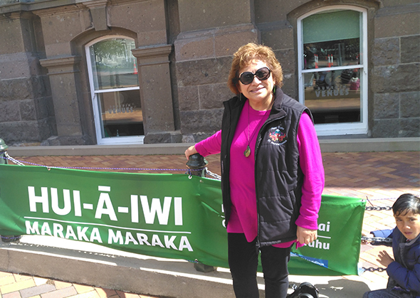Tāua Amiria and Manawanui outside the Dunedin Town Hall.